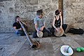 Didgeridoo and drooms street players at the Torres de Serrans 01.jpg