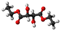 Ball-and-stick model of the diethyl tartrate molecule