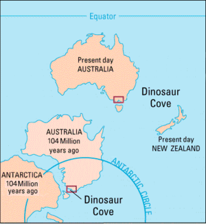 Dinosaur Cove - During the Cretaceous the site (red boxes) was within the Antarctic Circle