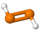 Ball and stick model of diphosphene molecule