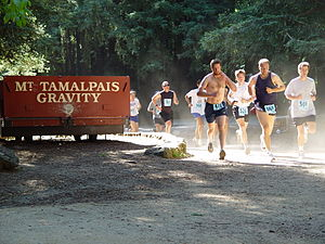 Dipsea Race - Runners pass a Gravity Car in Old Mill Park during the 2004 race.