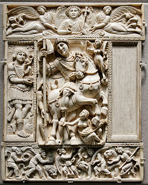 The Barberini Ivory, which is thought to portray either Justinian or Anastasius I.