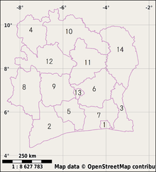 Ivory Coast Wikipedia - Cote d'ivoire map