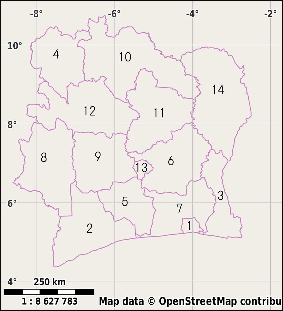 Pembagian wilayah administratif Pantai Gading