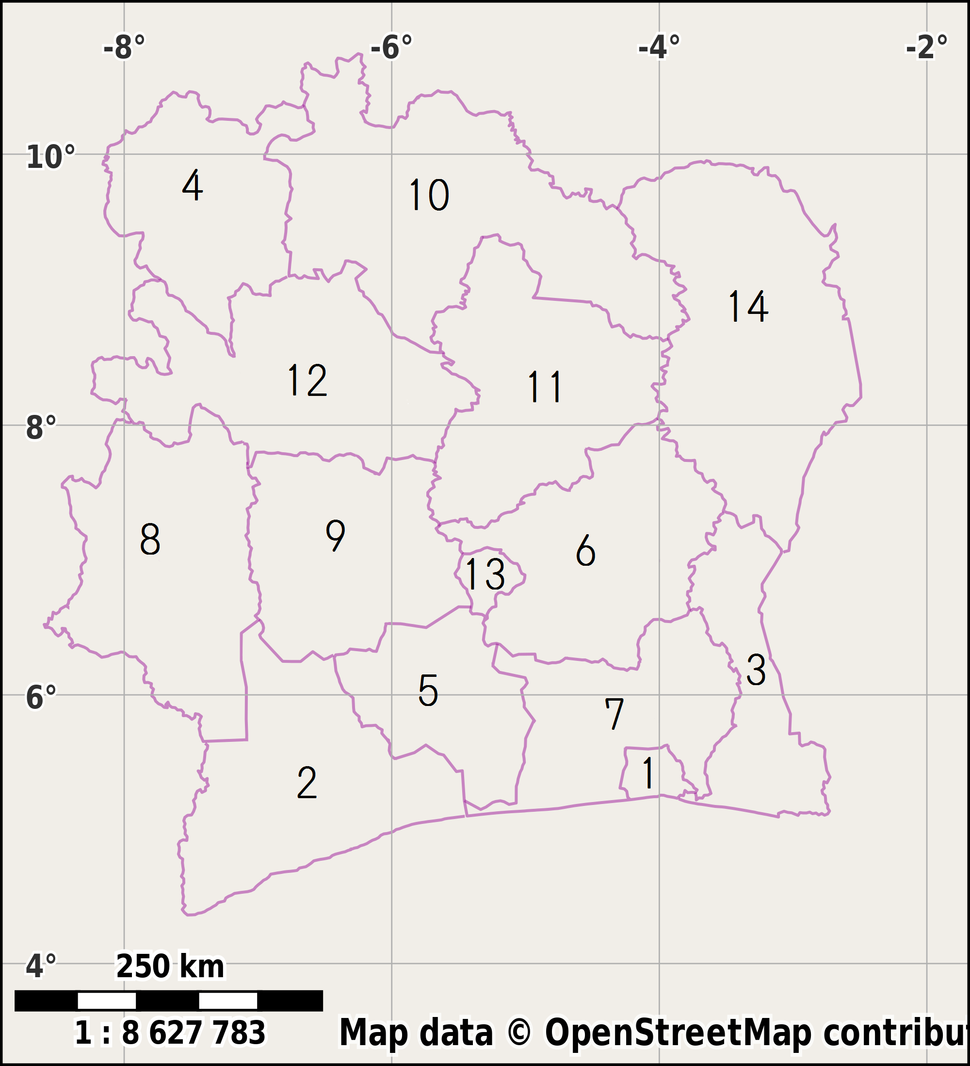 Districts of Côte d'Ivoire (Numbered)