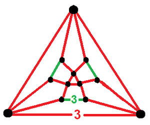 Tetrahedral-octahedral honeycomb - Vertex figure with nonplanar 3.3.3.3 vertex configuration for the triangular bipyramids