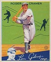 A Goudey Gum Company illustration of Rodger Cramer in a white uniform