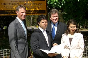 Barry O'Farrell - Barry O'Farrell with Victor Dominello, Andrew Stoner and Gladys Berejiklian outside North Ryde Public School in November 2008.