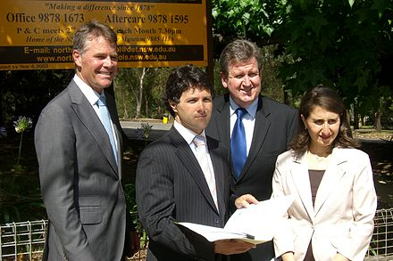 Berejiklian (right) with Andrew Stoner, Victor Dominello and Liberal Leader Barry O'Farrell Dominello with coalition leadership.JPG