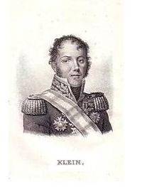 General Klein in uniform, black and white
