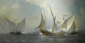 Galiot - A Spanish ship (center) attacked by two Algerian galiotes (1738)