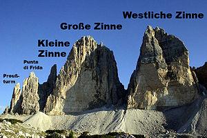 English: Drei Zinnen (ital. Tre Cime di Lavare...