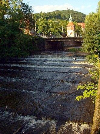 Dreisam - Freiburg im Breisgau downstream of the Schwabentor Bridge (August 2005)