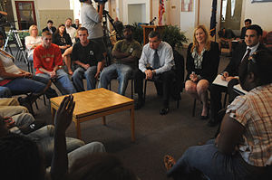 Drug czar - Drug Czar Gil Kerlikowske speaks with staff and patients at the Covenant House, which helps drug-addicted teenagers and adults.