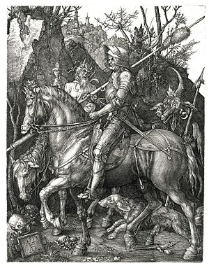 A Dream of the Past: Sir Isumbras at the Ford - Image: Duerer Ritter, Tod und Teufel (Der Reuther)