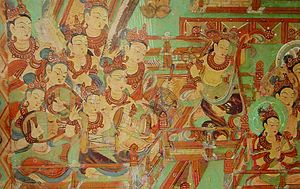 Ruan - This is a part of the Dunhuang fresco. Two pipa players are shown at the left hand corner.