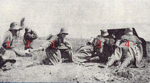Cannoneer - Gun crew Wehrmacht 37-mm-PaK (1939) 1 2 Cannoneers (fuse, ammunition a. charge) 2 Gunner (team leader) 3 Gun pointer (dep. gunner) 4 Loader