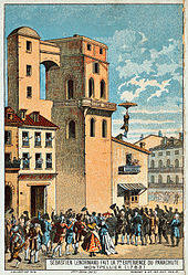 A man leaping from a tower.