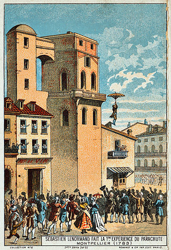 Louis-Sebastien Lenormand jumps from the tower of the Montpellier observatory, 1783. Illustration from the late 19th century. Early flight 02561u (3).jpg