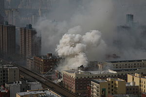 2014 East Harlem gas explosion - Aerial view of the explosion