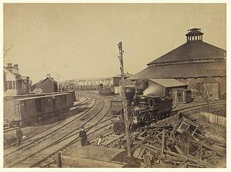 Orange and Alexandria Railroad - Image: Eastern view of round house and depot, Orange & Alexandria Railroad 08260v