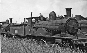 LSWR X6 class - No. 666 was built 1892, withdrawn 1943 and dumped at Eastleigh - 11 July 1946