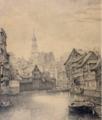 Ebba Tesdorpf Platz beim Pferdeborn, Neustädter Fuhlentwiete, 1887, Zeichnung, 33 x 19 cm, Museum fürHamburgische Geschichte (Inv.-Nr. 2010-1828).png