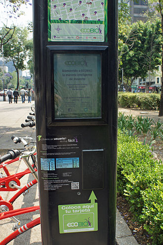 EcoBici (Mexico City) - EcoBici payment kiosk at rental station