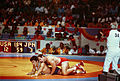 Ed Banach wrestles Akira Ohta during the 1984 Summer Olympic.jpg