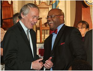 Mo Cowan - Cowan (right) with U.S. Representative Ed Markey, his successor in the Senate, at a 2013 gathering.