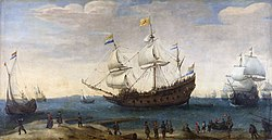 Hendrick Cornelisz Vroom: East Indiamen off a coast