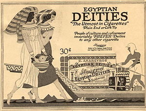 "Egyptian cigarette industry - A 1919 American advertisement for an Egypt–inspired cigarette brand, S. Anargyros' ""Egyptian deities"""