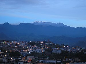 Manizales - The Nevado del Ruiz of Los Nevados National Park seen from the city