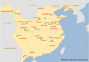 Dong Zhuo - Map showing the major warlords of the Han dynasty in the 190s, including the territories controlled by Dong Zhuo and his subordinates Li Jue and Guo Si