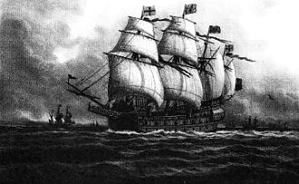 Henry Grace à Dieu - English warship Great Harry around 1555. Painting by Lüder Arenhold (1891)