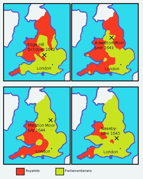 English Civil War Map, 1642 to 1645