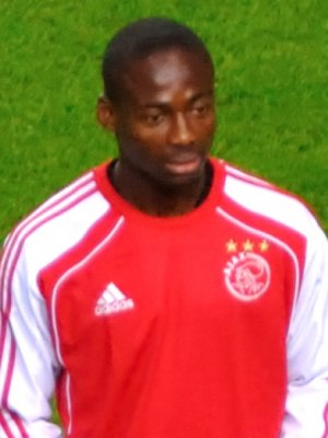 Eyong Enoh - Enoh warming up for Ajax vs Olympique Lyonnais on 14 September 2011.