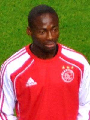 Eyong Enoh - Enoh warming up for Ajax vs Olympique Lyonnais on 14 September 2011.