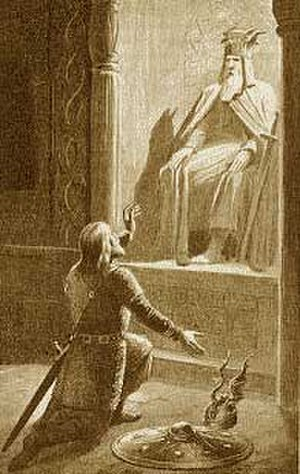 Swedes - Eric the Victorious praying to Odin, Eric was the first king to rule over both the Swedes and the Goths; 1895 illustration by Jenny Nyström.