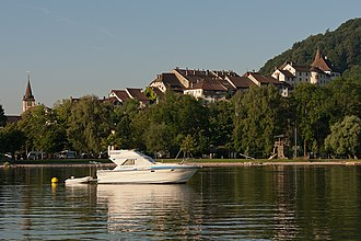 Erlach, Switzerland - Erlach town and castle above Lake Bienne