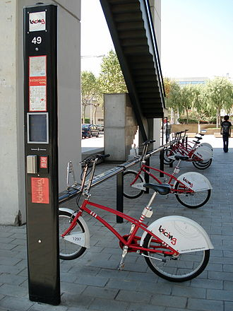 Bicing - A Bicing station.