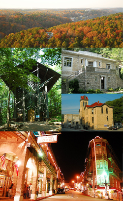 Clockwise, from top: aerial view of Eureka Springs, Eureka Springs Public Library, Carroll County Courthouse, Commercial Historic District at night, Thorncrown Chapel