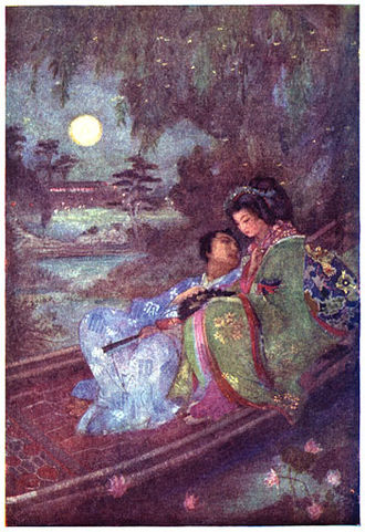 Evelyn Paul - Lovers Exchanging Fans. Frontispiece of Legends from Japan, 1917