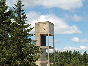 The Evergreen signature clock tower
