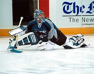Evgeni Nabokov - Nabokov stretching with the San Jose Sharks before a game in November 2005