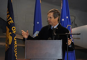Port of Portland (Oregon) - Executive director Bill Wyatt speaks at the Port of Portland lease signing ceremony for the Portland Air National Guard Base in 2013.