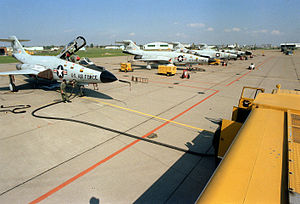 Niagara Falls Air Reserve Station - 1981 tarmac of NFAFB with NYANG McDonnell F-101 Voodoos.