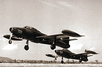 82nd Aviation Brigade - F-84G-31-RE Thunderjet take off in pairs.