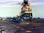 F4U-4 of VF-74 making crash landing on USS Bennington (CVA-20) 1953.jpg