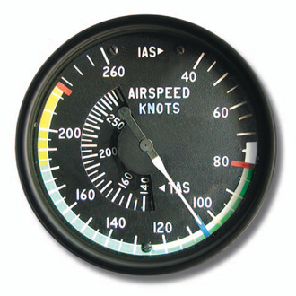 Airspeed - An airspeed indicator is a flight instrument that displays airspeed. This airspeed indicator has standardized markings for a multiengine airplane.